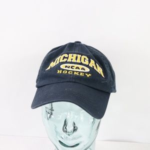 Vtg Michigan Wolverines Hockey Strapback Hat Blue